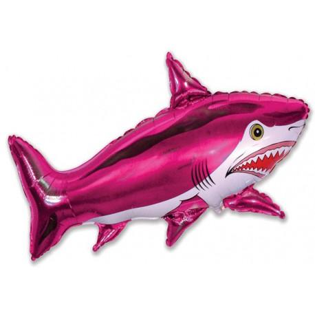 Globos de foil Minishape de 28cm x 40cm Tiburón Fucsia
