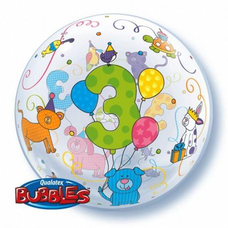 "Globos de foil de 22"" Bubbles 3 Añitos"