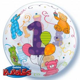 "Globos de foil de 22"" Bubbles 1 Añito"