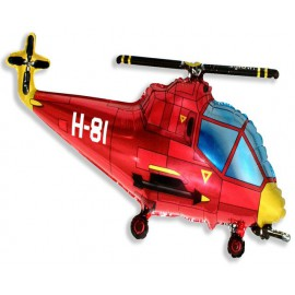 "Globos de foil Mini de 10"" X 17"" (25cm x 43cm) Helicoptero Rojo"
