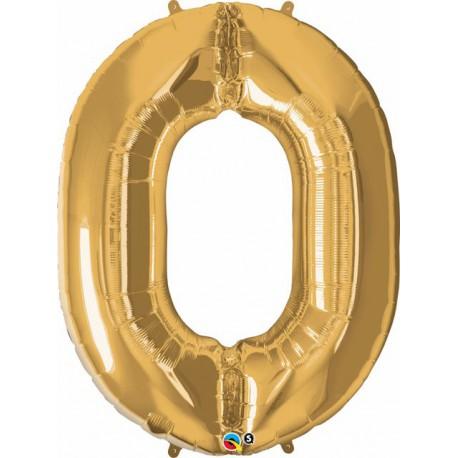 "Globos de Foil de 34"" (86Cm) x 39"" (99Cm) Numero 0 Oro"