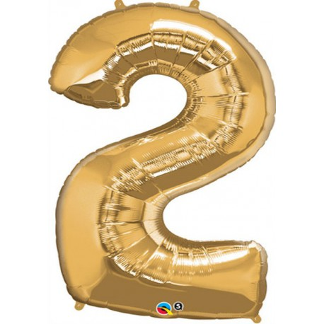 "Globos de Foil de 34"" (86cm) x 43"" (109Cm) Numero 2 Oro"