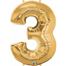 "Globos de Foil de 34"" (86cm) x 44"" (111Cm) Numero 3 Oro"