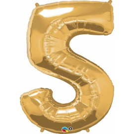 "Globos de Foil de 34"" (86cm) x 44"" (111Cm) Numero 5 Oro"