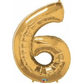 "Globos de Foil de 34"" (86cm) x 42"" (107Cm) Numero 6 Oro"