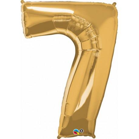 "Globos de Foil de 34"" (86cm) x 42"" (107Cm) Numero 7 Oro"