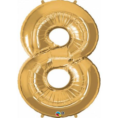 "Globos de Foil de 34"" (86cm) x 42"" (107Cm) Numero 8 Oro"