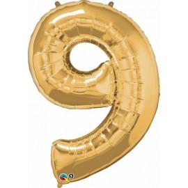 "Globos de Foil de 34"" (86cm) x 42"" (107Cm) Numero 9 Oro"
