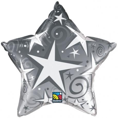 """GLOBOS DE FOIL ESTRELLA 36"""" STARBLAST PLATA"""