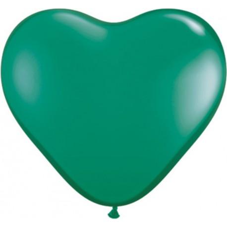 """Globos de 6"""" (15Cm) corazones Verde Esmeralda Qualatex"""