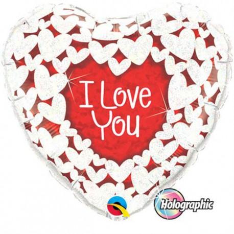"Globos de foil de 18"" (45Cm) Corazón I Love You Holográfico"