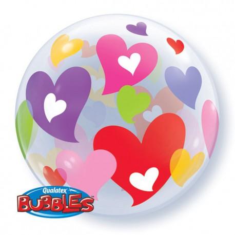"""Globos de foil de 22"""" Bubbles Corazones Coloridos"""