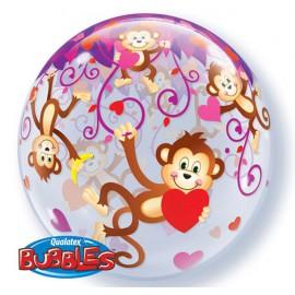 """Globos de 22"""" Bubbles Monos Enamorados"""