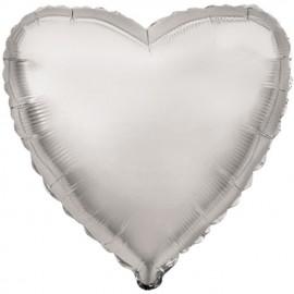 """Globos de foil corazones 18"""" Plata"""