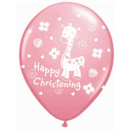 "Globos de 12"" Happy Christening Rosa"