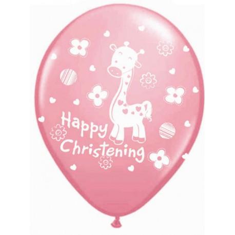 """Globos de 12"""" Happy Christening Rosa"""
