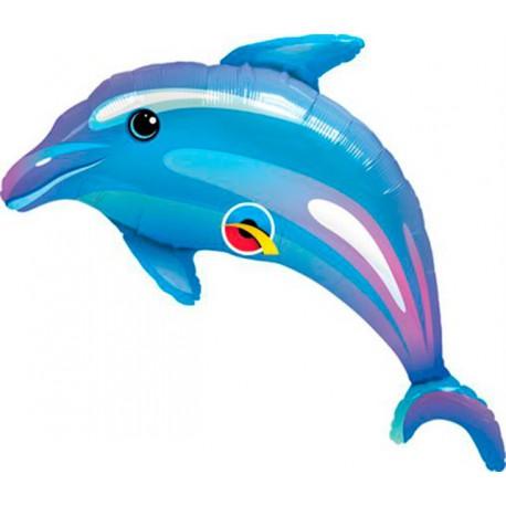 "Globos de foil Minishape de 14"" 36cm Delfín Azul qualatex"