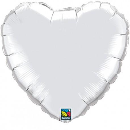 """Globos de foil corazones 36"""" Plata"""