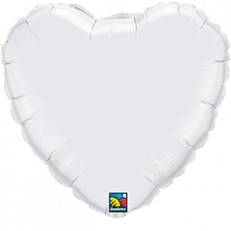 """Globos de foil corazones 36"""" Blanco"""