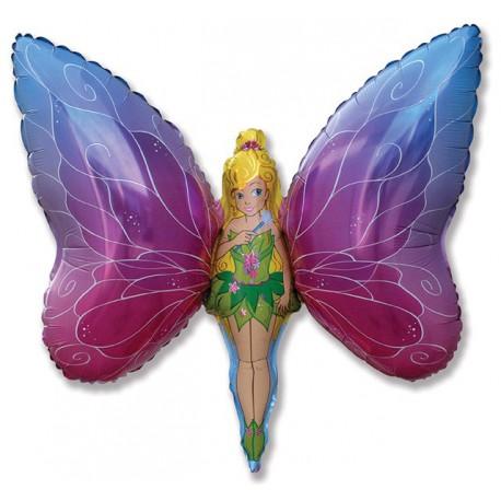 """Globos de foil Forma de 27"""" x 38"""" (70Cm x 97Cm) Lady Mariposa"""