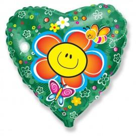 """Globos de foil Corazon 18"""" Flor sonriente"""