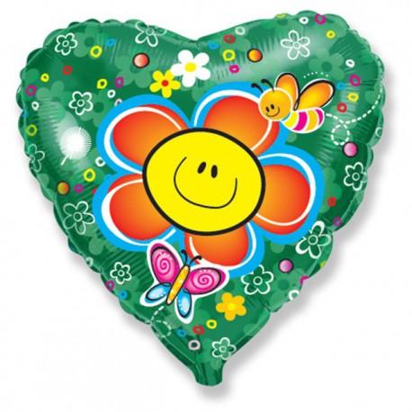 "Globos de foil Corazón 18"" (45Cm) Flor sonriente"