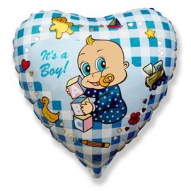 "Globos de Foil Corazon de 9"" (23Cm) Boy Alpha MINI"