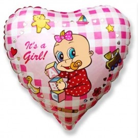 "Globos de Foil Corazon de 9"" (23Cm) Girl Alpha MINI"