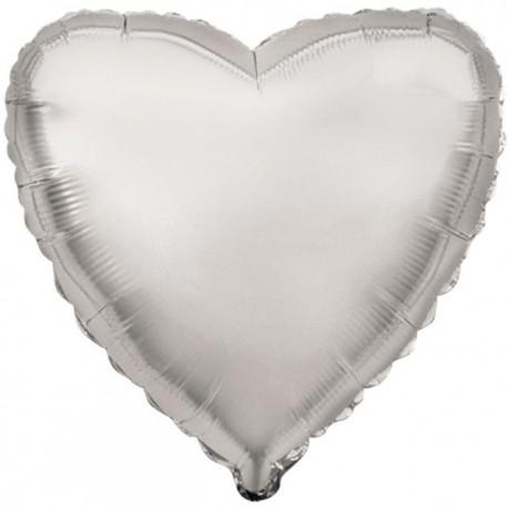 "Globos de foil corazones 32"" (81 Cm) Plata"