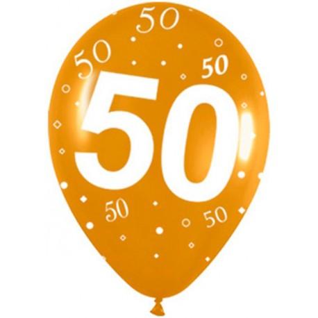 Globos R-12 (30Cm) Número 50 Dorado