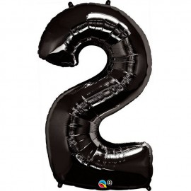 """Globos de Foil de 34"""" (86cm) número 2 Negro"""