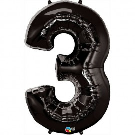 """Globos de Foil de 34"""" (86cm) número 3 Negro"""