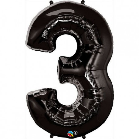 """Globos de Foil de 44"""" (112cm) número 3 Negro"""