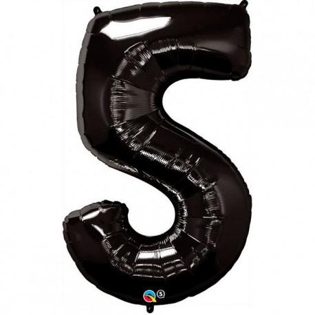 """Globos de Foil de 34"""" (86cm) número 5 Negro"""