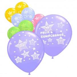 """Globos de 12"""" Feliz cumpleaños Estrellas"""