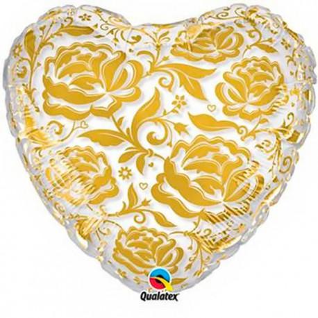 """Globos foil de 24"""" Corazón Rosas Doradas cristal qualatex"""