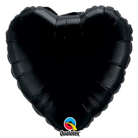 """Globos de foil Corazones de 18"""" Negro Onyx qualatex"""