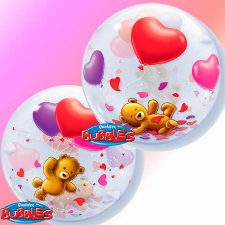 """Globos de foil de 22"""" Bubbles Teddy Bear Corazones"""