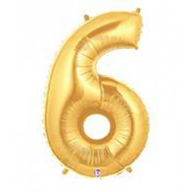 "Globos de Foil de 14"" (36cm) Numero 6 ORO"