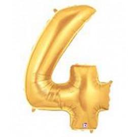 "Globos de Foil de 14"" (36cm) Numero 4 ORO"