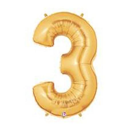 "Globos de Foil de 14"" (36cm) Numero 3 ORO"
