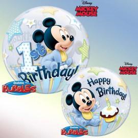 """Globos de foil de 22"""" Bubbles Mickey 1st"""