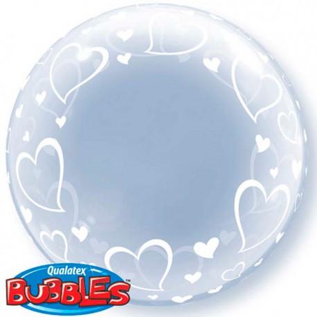 """Globos de foil de 24"""" Bubbles STYLISH HEARTS"""
