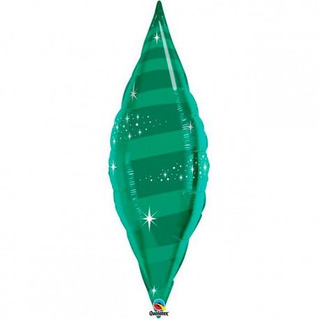 "Globos de foil TAPER SWIRL 38"" Verde Esmeralda Qualatex"
