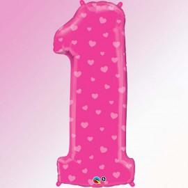 "Globos de Foil de 34"" (86cm) número 1 Rosa"