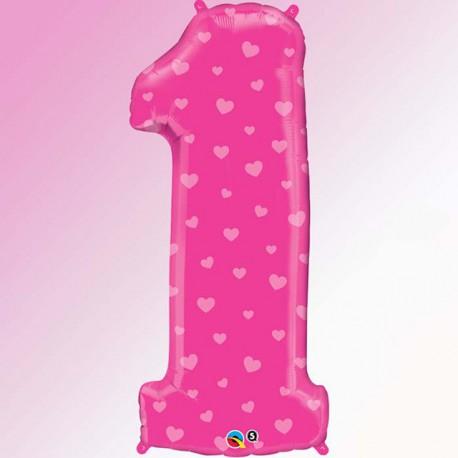"Globos de Foil de 38"" (96cm) número 1 Rosa"
