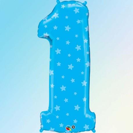 """Globos de Foil de 38"""" (96cm) número 1 Azul"""