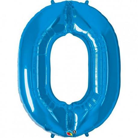 """Globos de Foil de 34"""" (86cm) número 0 Azul Zafiro"""