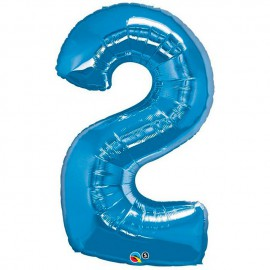 """Globos de Foil de 34"""" (86cm) número 2 Azul Zafiro"""