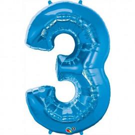 """Globos de Foil de 34"""" (86cm) número 3 Azul Zafiro"""
